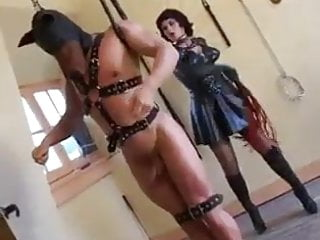 Bdsm Femdom Handjob video: Strict sexy mistress in latex, punishes with a whip and hand