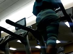 Huge Rump In Green Stretch Pants On Treadmill(preview)