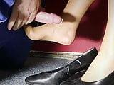 Horny nylon foot fuck on job site