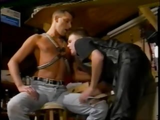 .Leather sir  with  jeans slave .