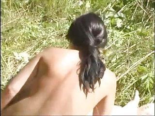 Hardcore Outdoor Milf video: Hairy mature fucks a boy outdoor