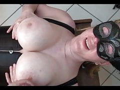 Busty MILF fucked by machine and cummed on