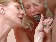 Deux mamies veulent sa bite!