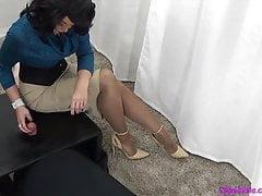 Madura amante Gloryhole Masturbación con la mano Tease y negación Bordes