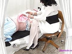 Femdom Collant Infermiera BDSM Sissy Exam Handjob