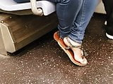 Candid short ebony feet clip