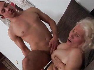 Blowjob Handjob Facial video: Horny Granny with young Boy