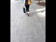 Black Thongh in See Through Legging