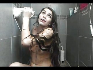 Amateur Facials Showers video: Super Sexy Long Haired Brunette Dildos, Fake Cum, Shower