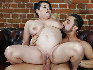 Matures Oldyoung video: Pierced granny pussy filled with younger dick