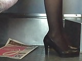 Spying Sexy Nylon Mature in Train