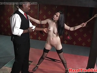 Interracial Bdsm video: Maledom ties up sub for spanking and clamping
