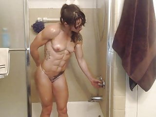 Sexy muscle girl showers