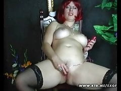 Busty amateur wife homemade toying her shaved pussy