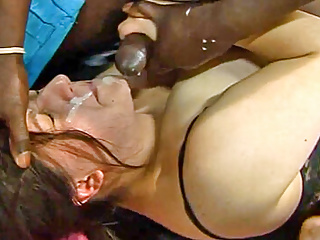 Gangbang Amateur Interracial video: Fatty gets fucked while taking facial cumshot
