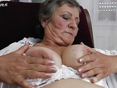 Hairy granny still works her wet pussy