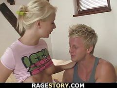 Hot blonde girk takes forced blowjob and fuck