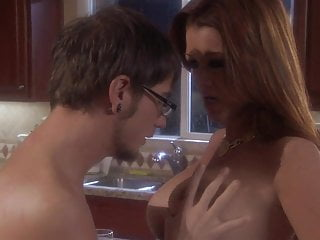 Swingers Pornstar Big Tits video: Raquel Devine groped by a LUCKY GUY in the kitchen