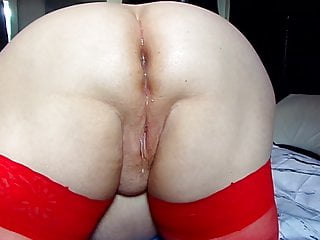 Anal Bbw video: Red Stocking Mum Anal Creampie