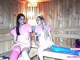 Fetisch-Concept.com - 2 girls with long cast leg in sauna