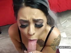 Busty coed Mia Kay is on her knees and swallowing a dick