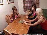 Cate, Natalie & Tracey play a high speed strip game