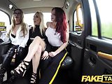 Fake Taxi Hot lesbian threesome in London cum stained cab