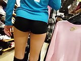 Candid voyeur volleyball teen at mall spandex