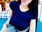 beautiful brunette model showing bigtits