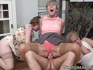 Gangbang Stockings Big Cock video: Lustful grandmas gangbang big dicked young jock