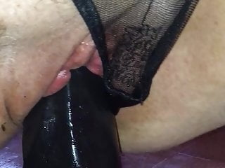 Girlfriend 14-Inch Black Dildo in her Pussy