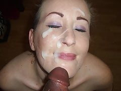 Skinny White Bitch Loves Black Dick - Two Facials In One Day
