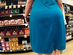 Pawg blaues Kleid dicke Beute wackelt