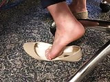 Coworker candid barefoot shoe play!