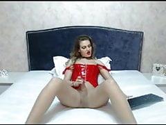 Blonde Transgender Princess Toying Her Immense Cock
