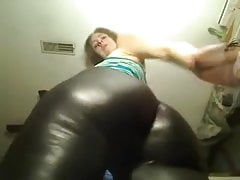 Horny Teen In Leather Spanking Her Ass