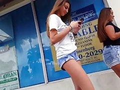 Candid voyeur hot thin skinny tall teen in shorts
