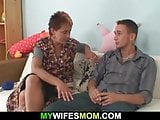 Older mom-inlaw seduces him into hot sex