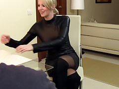 Sexy Wife Cara fucked in Leather and cum on clothes