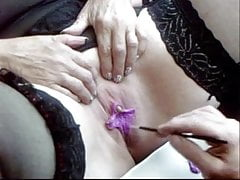 Pandora Pumps her Big Clit and gets her Labia Painted