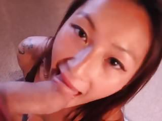 Asian GF Talking With A Huge Cock In Her Mouth