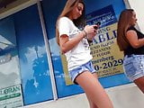 Candid voyeur hot thin skinny tall teen in shorts