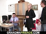 Two dudes share very old woman