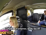 Female Fake Taxi Ozzie tourist cums in busty blondes mouth