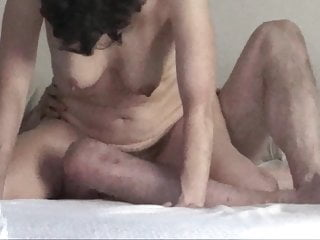 Porno video: Senior hairy pussy cowgirl riding husband, bouncing tits