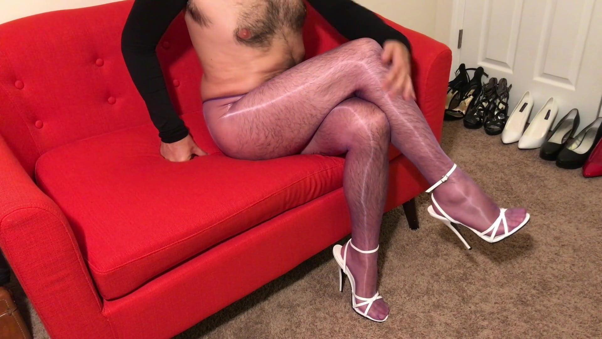 Shiny Violet Pantyhose Tease