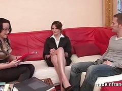 FFM Sexy petite french slut sexo anal doloroso para seu casting