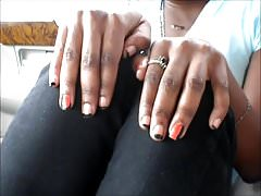 Alecia Orange & Black Toenails