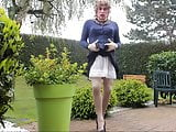 in the garden wearing vintage seamed nylon stockings