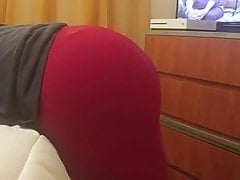 Ass In Red and Black Leggings